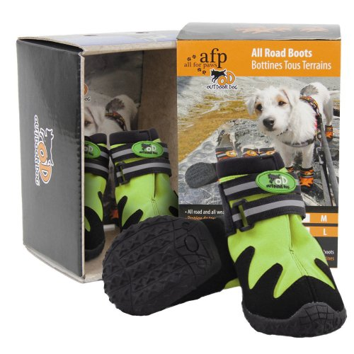 Outdoor Dog - All Road Boots - Dog Shoes Set of 4 - Green - XXL