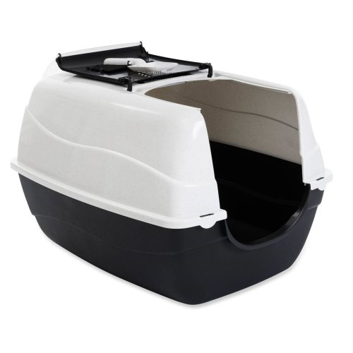 XXL Cat Toilet ORLANDO white-anthracite especially for large cat breeds