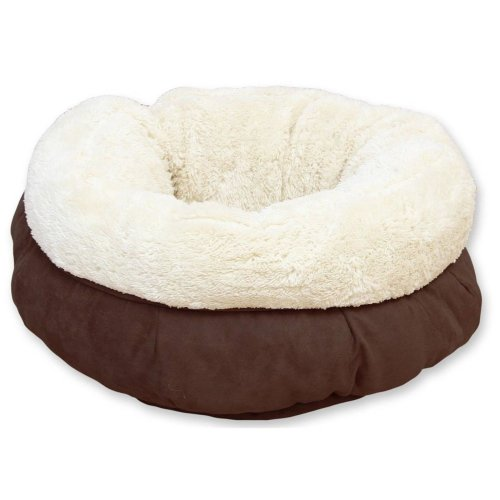 Donut Kuschelbett für Katzen mit Plüsch braun