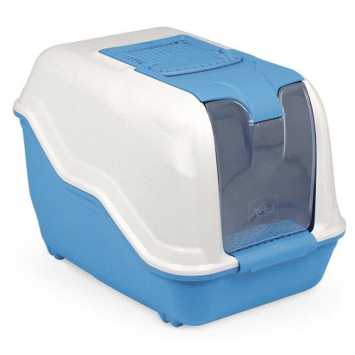 XXL cat toilet NETTA MAXI white-blue especially for big cat breeds