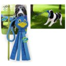 Pulling and tearing toy dog toy blue duck with rubber...