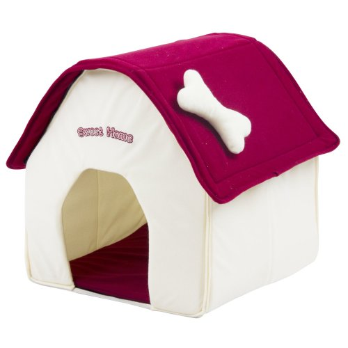 Dog house fabric doghouse Sweet Home - 40 x 40 x 45 cm - white-red