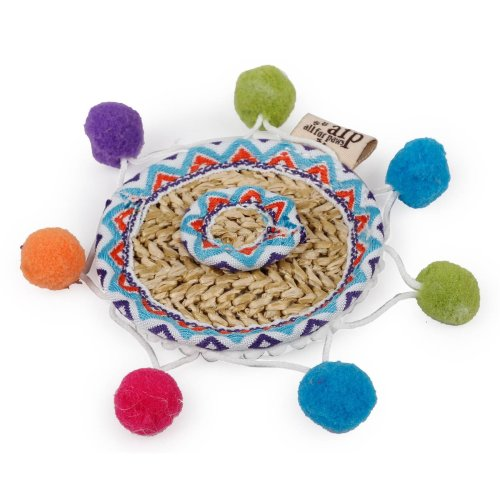 Braided Cat Toy Whisker Fiesta Color Sombrero with Catnip