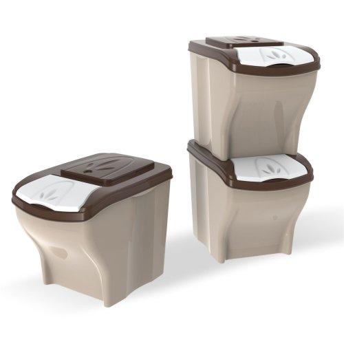 Futterbehälter Futtertonne stapelbares 3er Set 3 x 20 Liter Mülltonne Vorratsbehälter