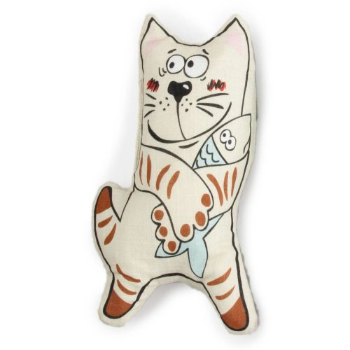 Cat Stuffed Catoon Cat with Fish with Matatabi (Silver Vine)