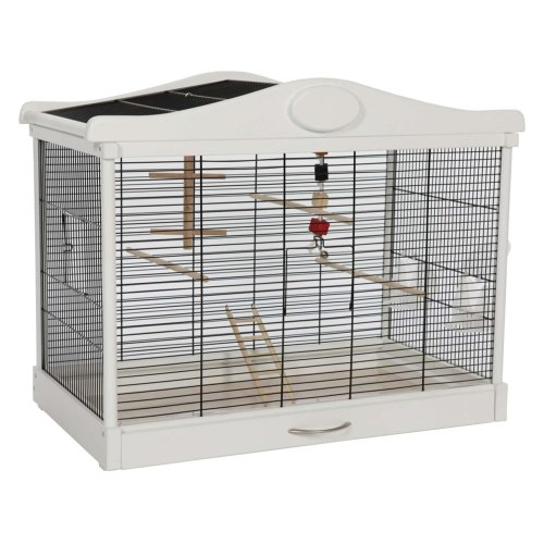 Bird home bird cage MILANO made of wood black and white with drawer and toy