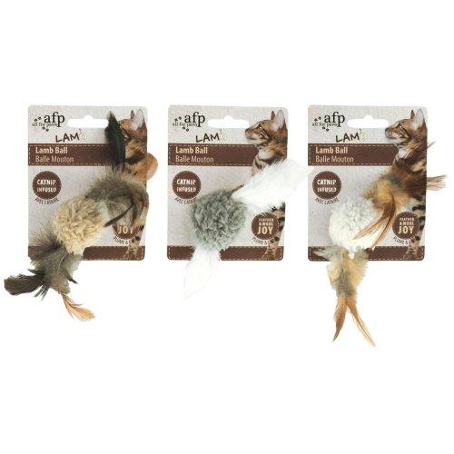 Lammfellball mit Vogelsound - Katzenspielzeug - 3 Farben sortiert