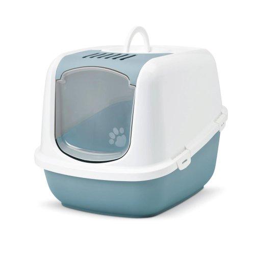 XXL Katzentoilette NESTOR JUMBO weiss-hellblau speziell für große Katzenrassen