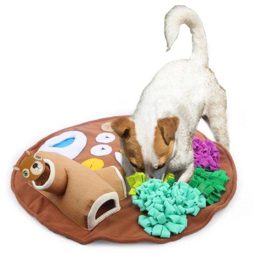Schnüffelteppich Schnüffelmatte Spielteppich Suchspiel für Hunde rund ca. 70 cm