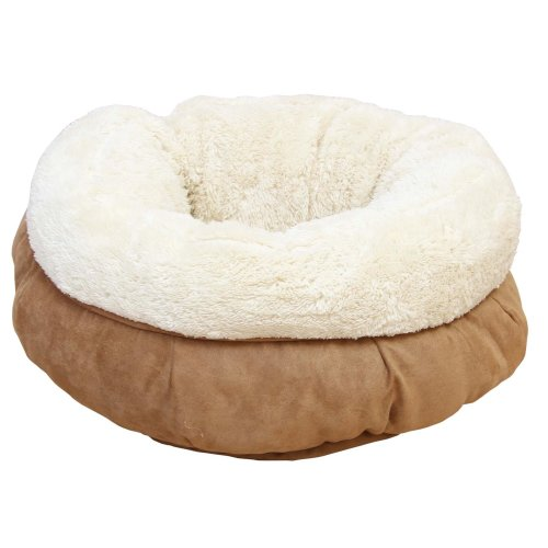 Donut cuddly bed for cats with plush - beige
